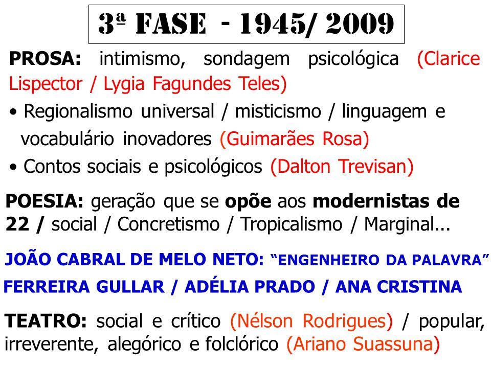 3ª FASE - 1945/ 2009 PROSA: intimismo, sondagem psicológica (Clarice Lispector / Lygia Fagundes Teles)