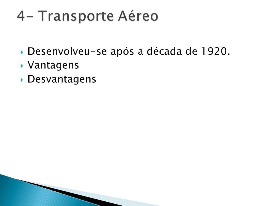4- Transporte Aéreo Desenvolveu-se após a década de 1920. Vantagens