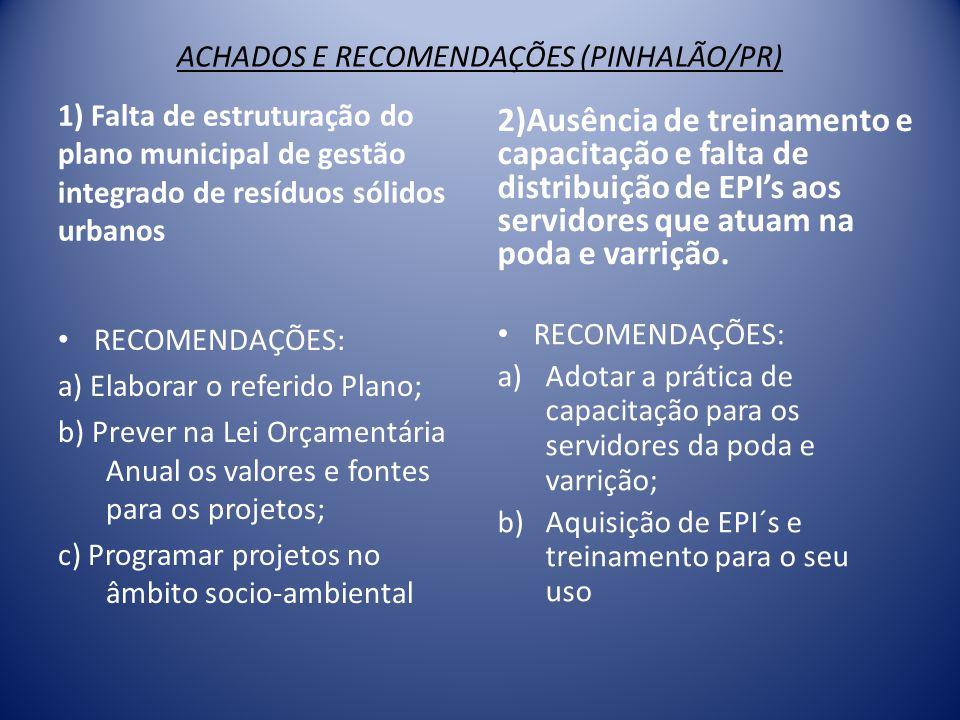 ACHADOS E RECOMENDAÇÕES (PINHALÃO/PR)