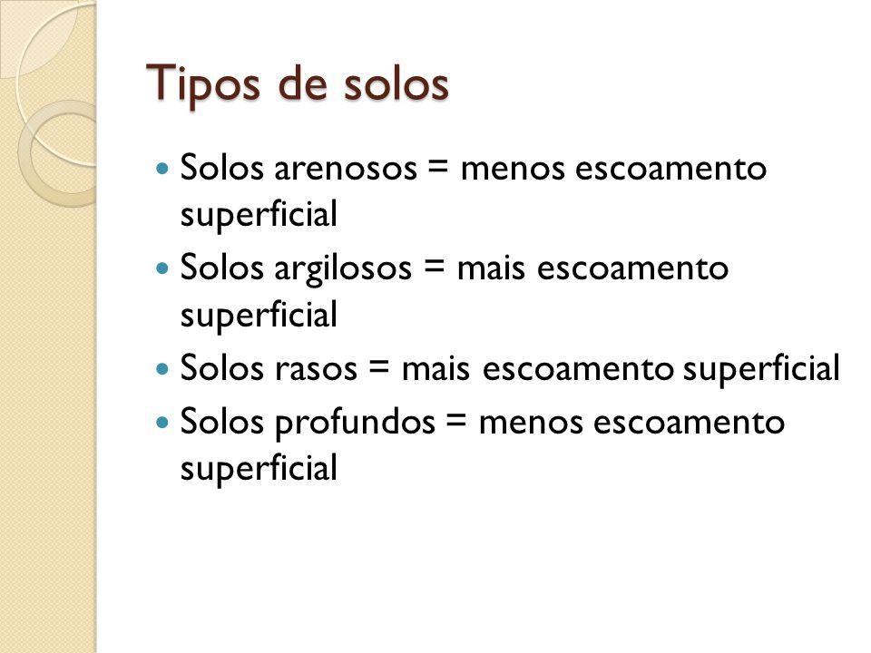 Tipos de solos Solos arenosos = menos escoamento superficial