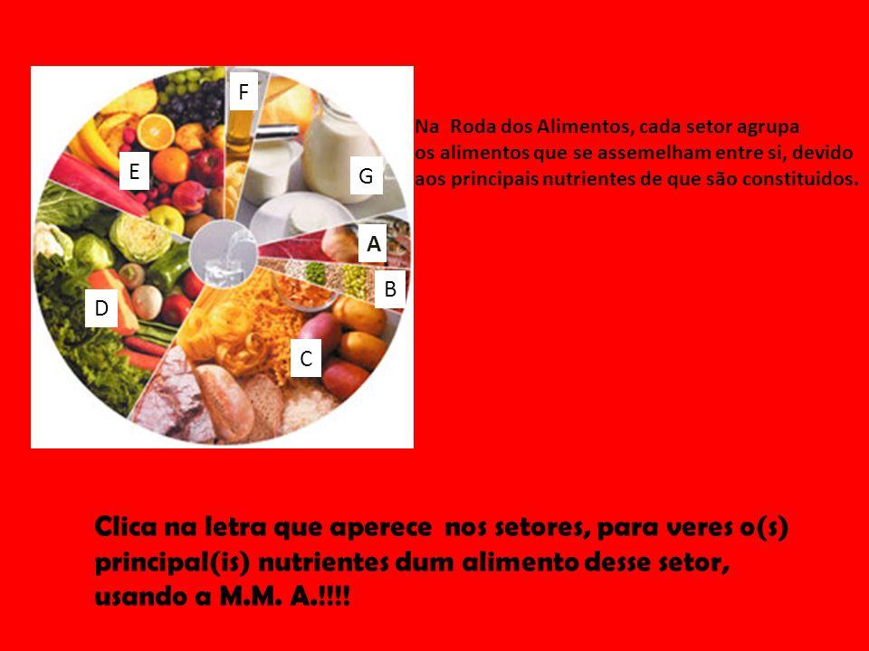F Na Roda dos Alimentos, cada setor agrupa. os alimentos que se assemelham entre si, devido. aos principais nutrientes de que são constituidos.