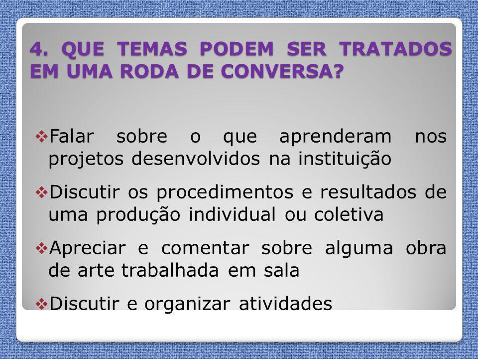 4. QUE TEMAS PODEM SER TRATADOS EM UMA RODA DE CONVERSA