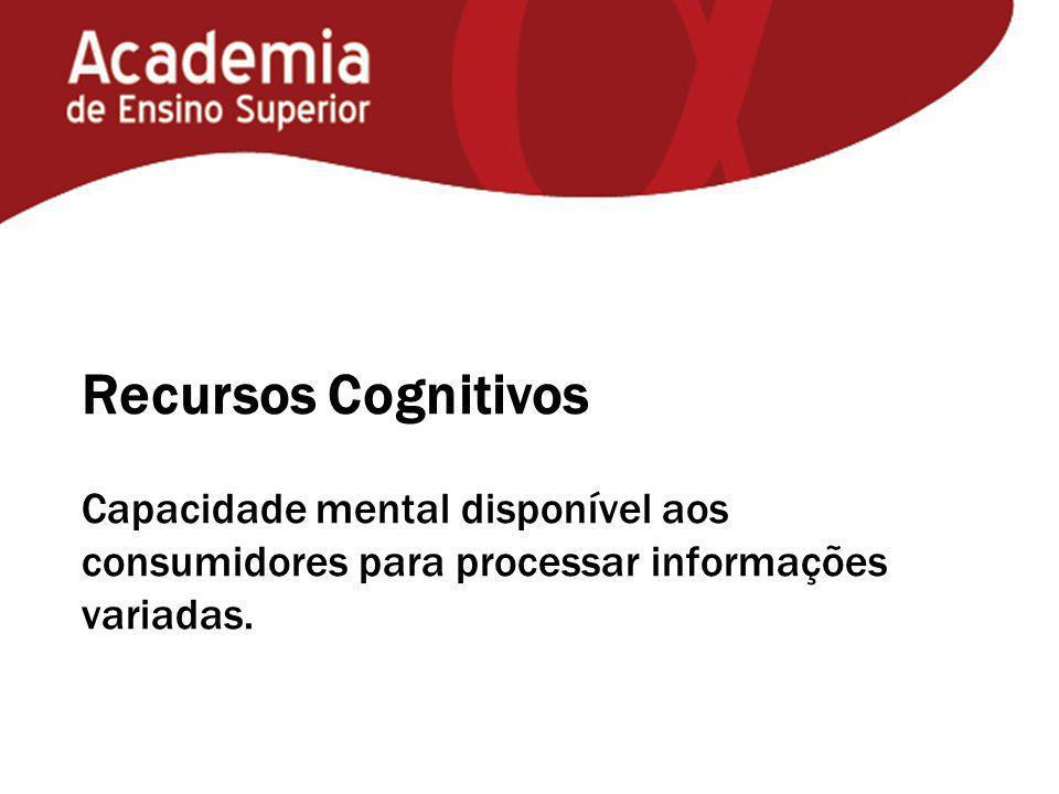 Recursos Cognitivos Capacidade mental disponível aos consumidores para processar informações variadas.