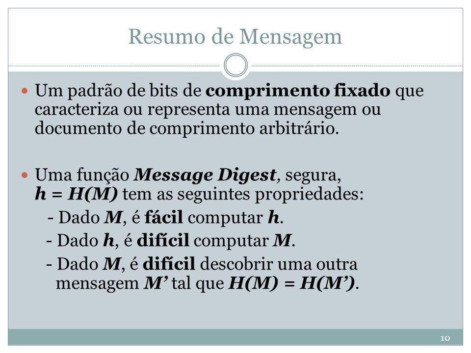 Resumo de Mensagem Um padrão de bits de comprimento fixado que caracteriza ou representa uma mensagem ou documento de comprimento arbitrário.