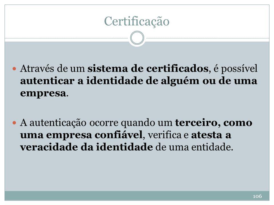 Certificação Através de um sistema de certificados, é possível autenticar a identidade de alguém ou de uma empresa.