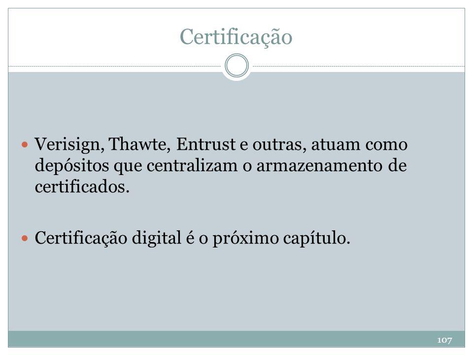 Certificação Verisign, Thawte, Entrust e outras, atuam como depósitos que centralizam o armazenamento de certificados.