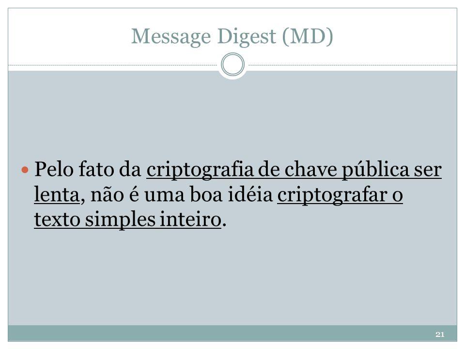 Message Digest (MD) Pelo fato da criptografia de chave pública ser lenta, não é uma boa idéia criptografar o texto simples inteiro.