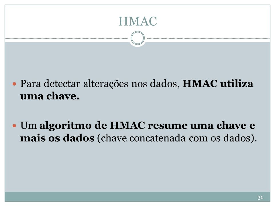 HMAC Para detectar alterações nos dados, HMAC utiliza uma chave.
