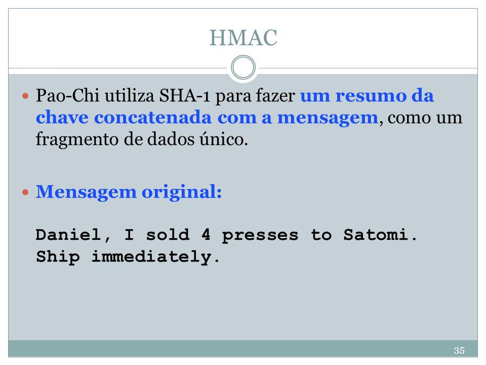 HMAC Pao-Chi utiliza SHA-1 para fazer um resumo da chave concatenada com a mensagem, como um fragmento de dados único.
