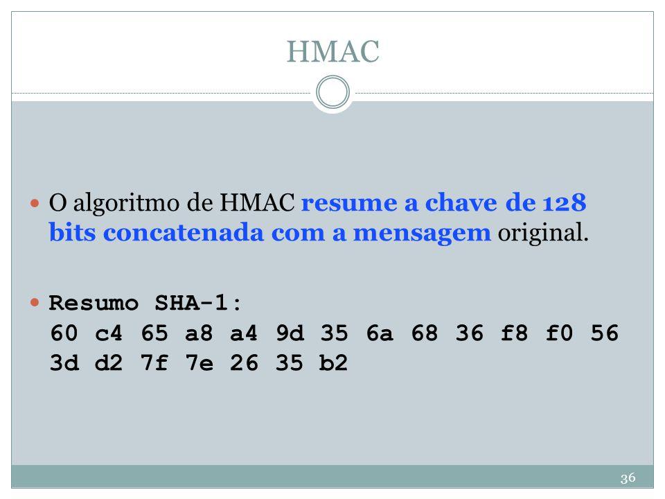 HMAC O algoritmo de HMAC resume a chave de 128 bits concatenada com a mensagem original.
