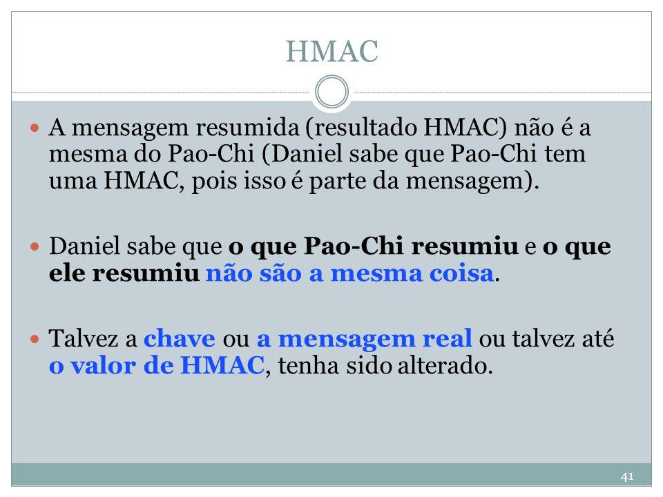 HMAC A mensagem resumida (resultado HMAC) não é a mesma do Pao-Chi (Daniel sabe que Pao-Chi tem uma HMAC, pois isso é parte da mensagem).