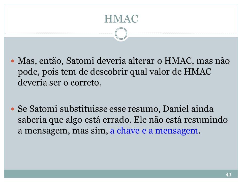 HMAC Mas, então, Satomi deveria alterar o HMAC, mas não pode, pois tem de descobrir qual valor de HMAC deveria ser o correto.