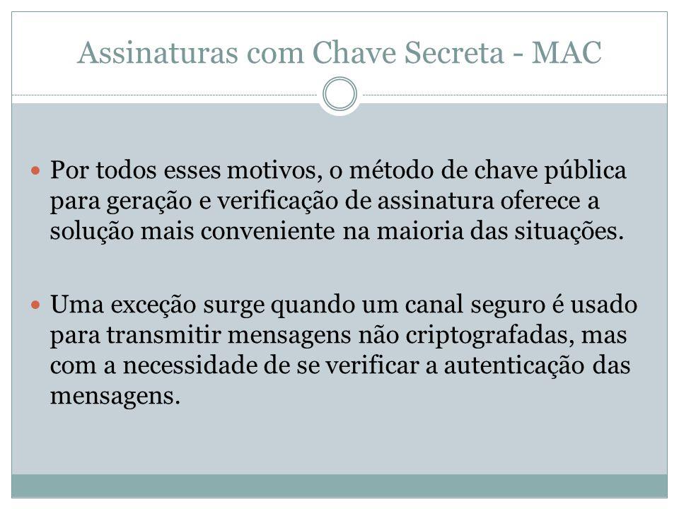 Assinaturas com Chave Secreta - MAC