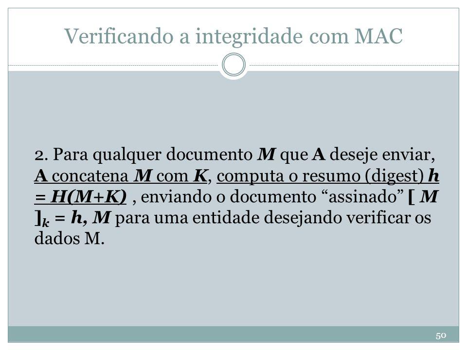 Verificando a integridade com MAC