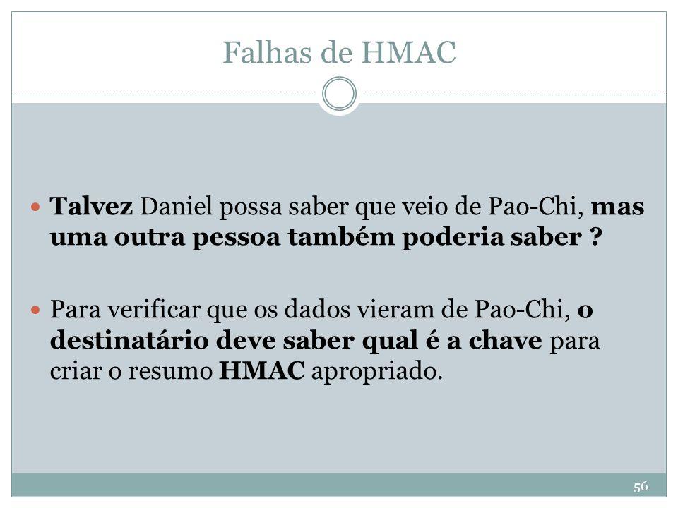 Falhas de HMAC Talvez Daniel possa saber que veio de Pao-Chi, mas uma outra pessoa também poderia saber