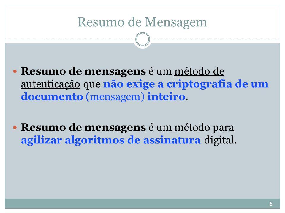 Resumo de Mensagem Resumo de mensagens é um método de autenticação que não exige a criptografia de um documento (mensagem) inteiro.