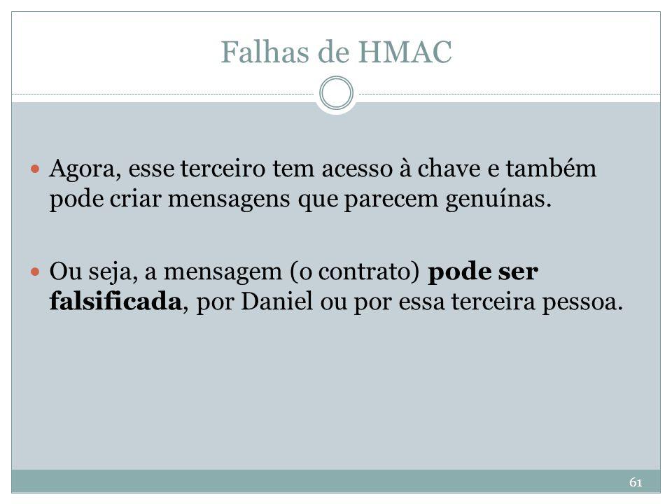 Falhas de HMAC Agora, esse terceiro tem acesso à chave e também pode criar mensagens que parecem genuínas.