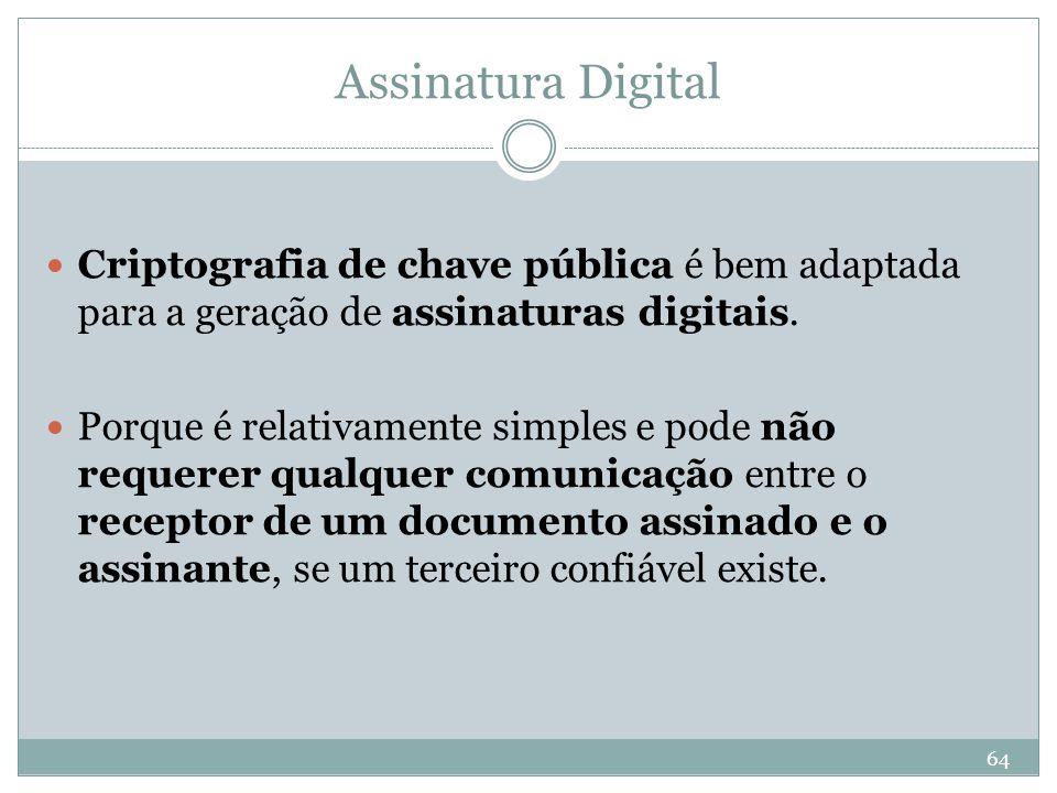 Assinatura Digital Criptografia de chave pública é bem adaptada para a geração de assinaturas digitais.