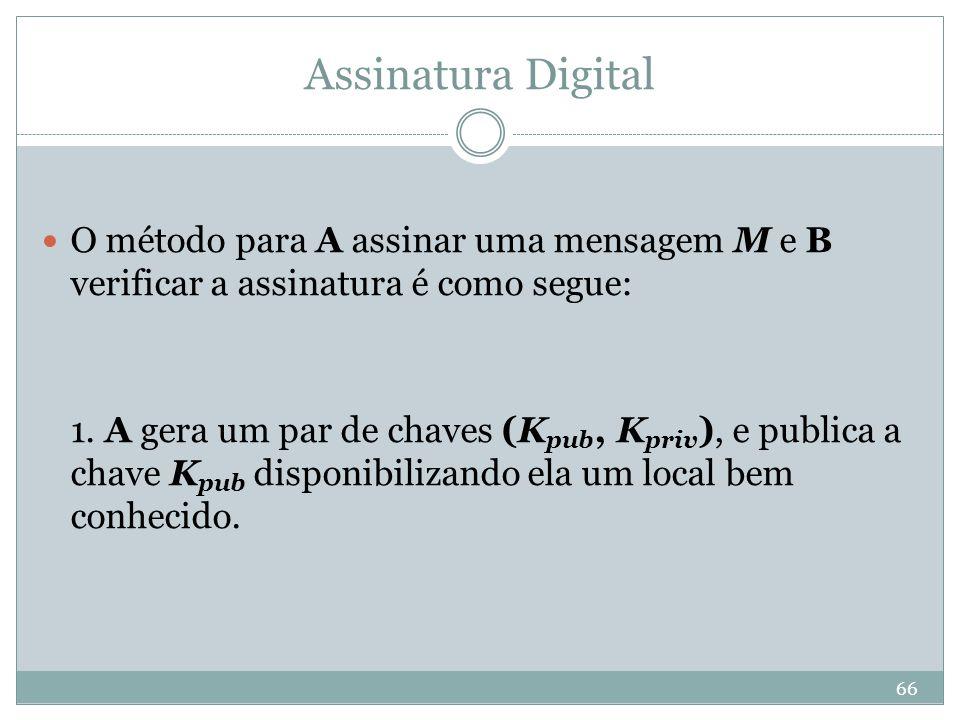 Assinatura Digital O método para A assinar uma mensagem M e B verificar a assinatura é como segue: