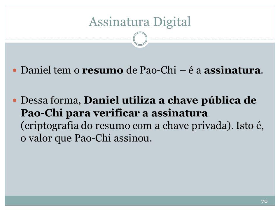 Assinatura Digital Daniel tem o resumo de Pao-Chi – é a assinatura.