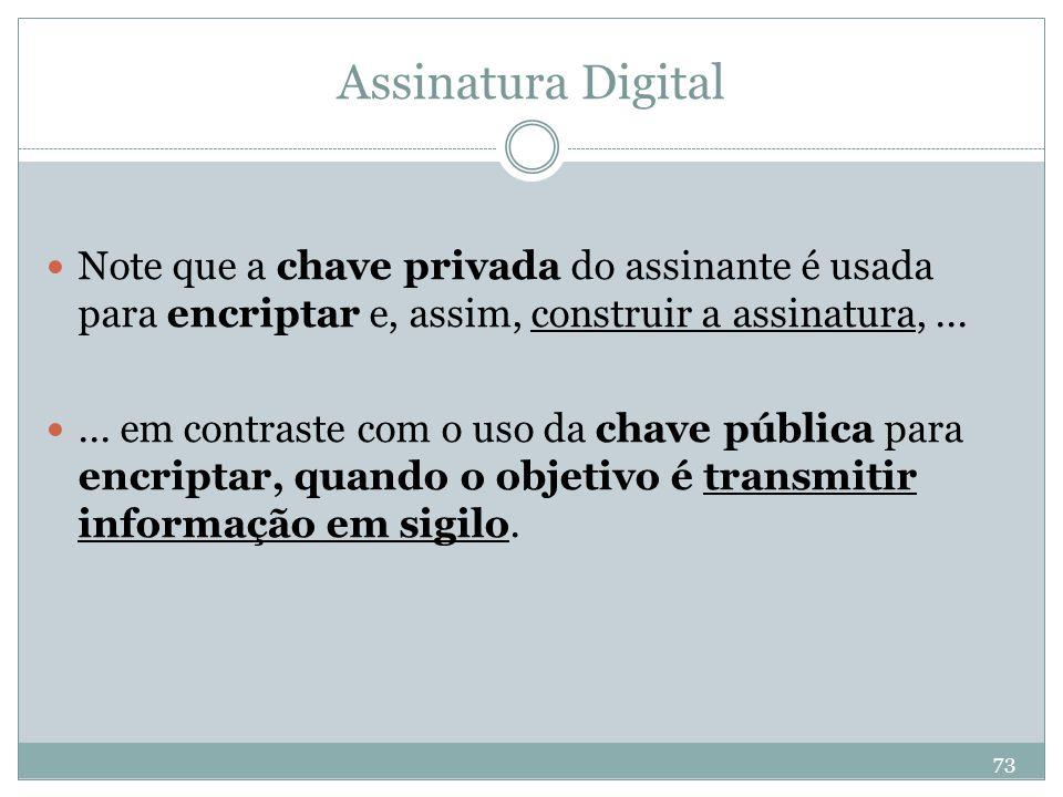 Assinatura Digital Note que a chave privada do assinante é usada para encriptar e, assim, construir a assinatura, ...