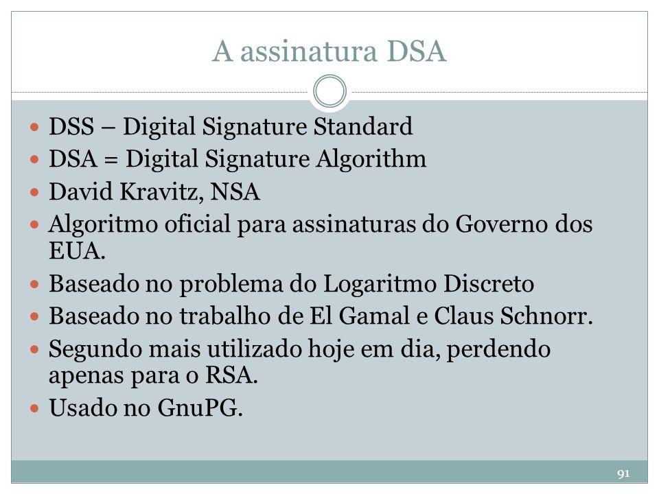 A assinatura DSA DSS – Digital Signature Standard