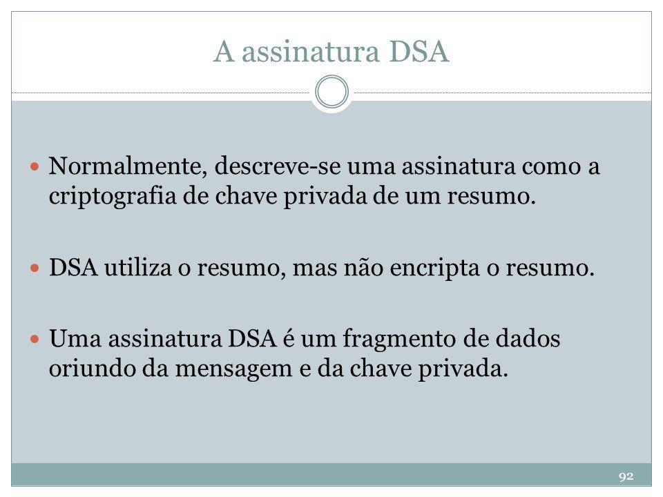 A assinatura DSA Normalmente, descreve-se uma assinatura como a criptografia de chave privada de um resumo.