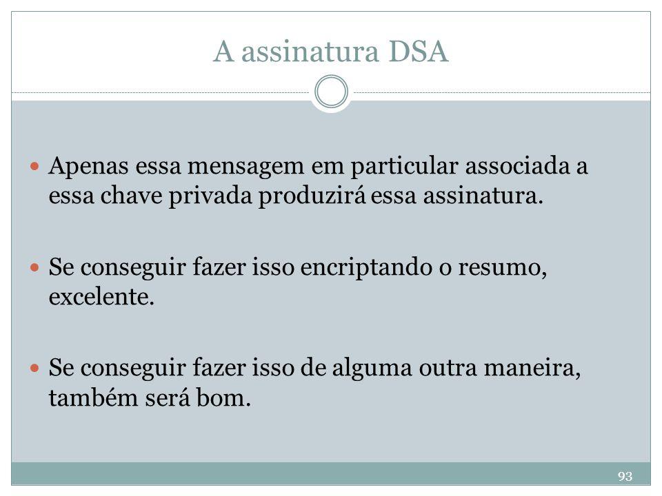 A assinatura DSA Apenas essa mensagem em particular associada a essa chave privada produzirá essa assinatura.