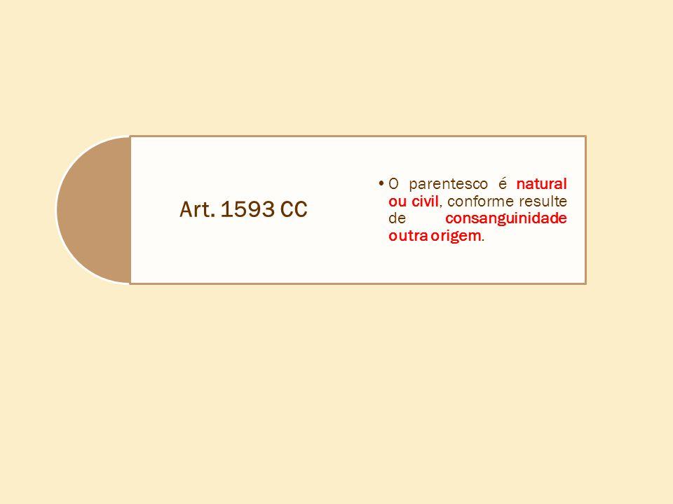 Art. 1593 CC O parentesco é natural ou civil, conforme resulte de consanguinidade outra origem.