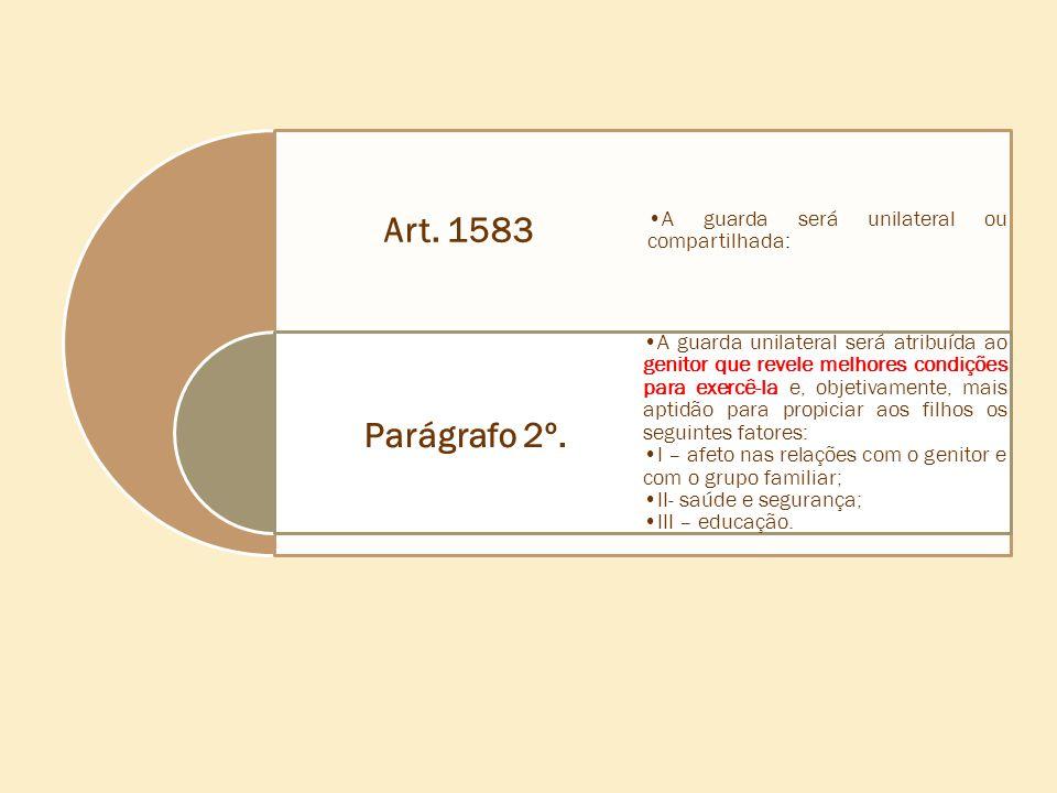 Parágrafo 2º. Art. 1583 A guarda será unilateral ou compartilhada: