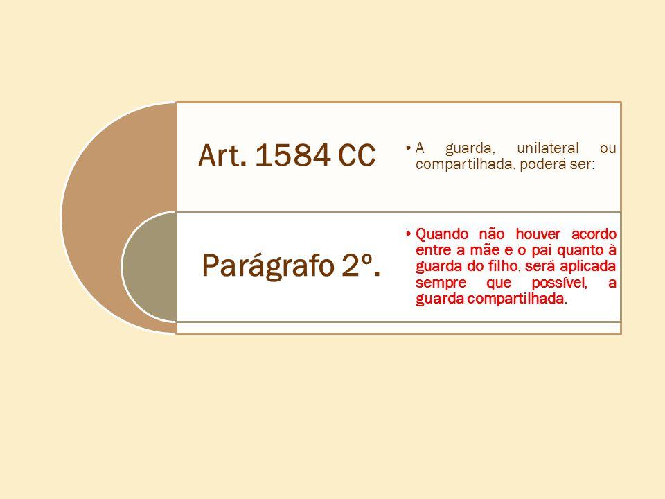 Art. 1584 CC A guarda, unilateral ou compartilhada, poderá ser: Parágrafo 2º.