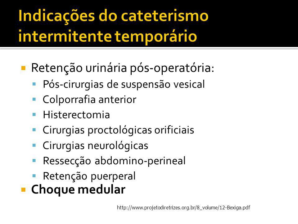 Indicações do cateterismo intermitente temporário