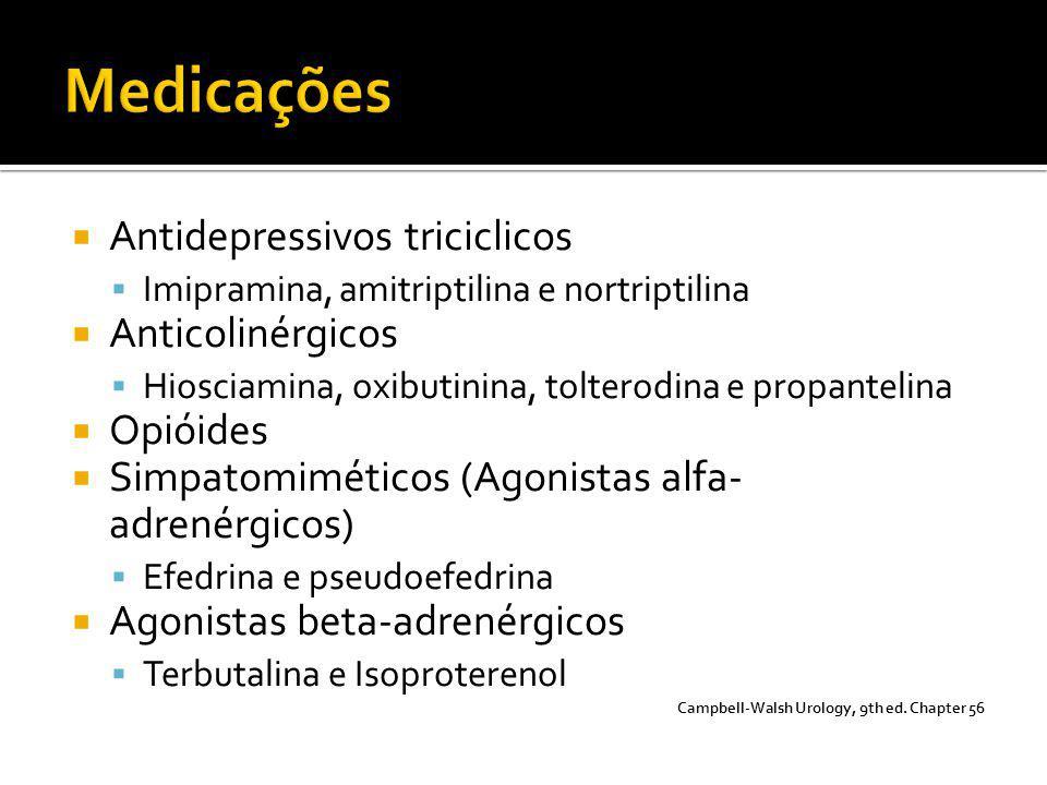Medicações Antidepressivos triciclicos Anticolinérgicos Opióides