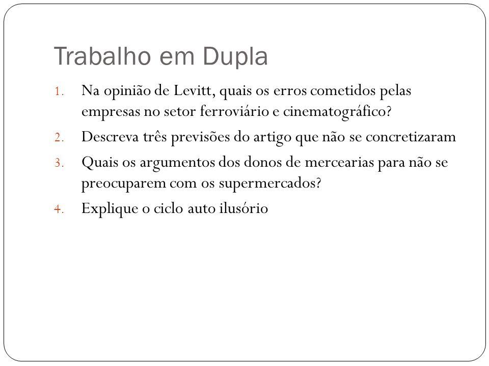 Trabalho em Dupla Na opinião de Levitt, quais os erros cometidos pelas empresas no setor ferroviário e cinematográfico