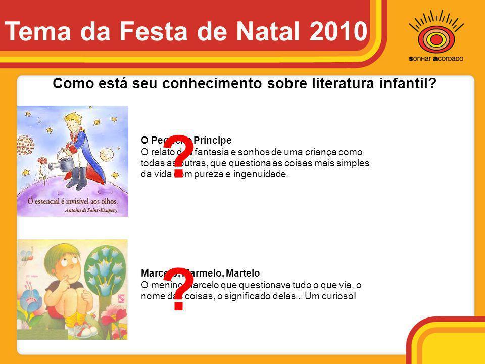 Tema da Festa de Natal 2010 Como está seu conhecimento sobre literatura infantil O Pequeno Príncipe.