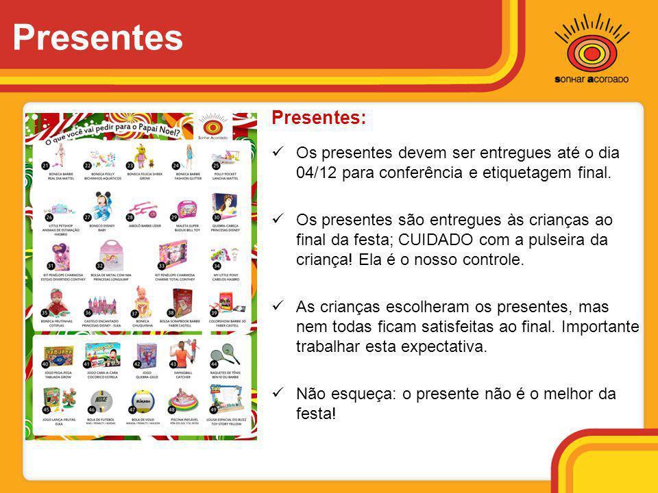 Presentes Presentes: Os presentes devem ser entregues até o dia 04/12 para conferência e etiquetagem final.