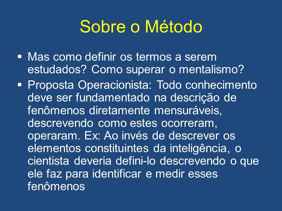 Sobre o Método Mas como definir os termos a serem estudados Como superar o mentalismo