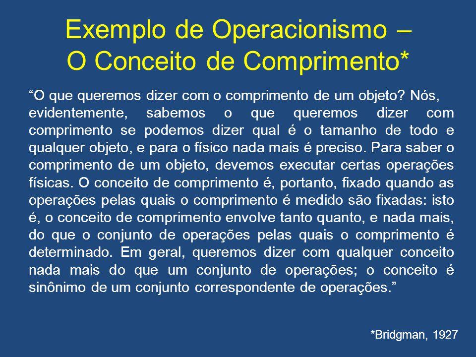 Exemplo de Operacionismo – O Conceito de Comprimento*