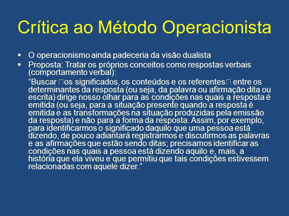 Crítica ao Método Operacionista