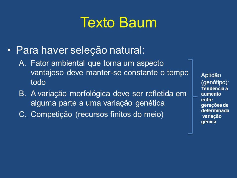 Texto Baum Para haver seleção natural: