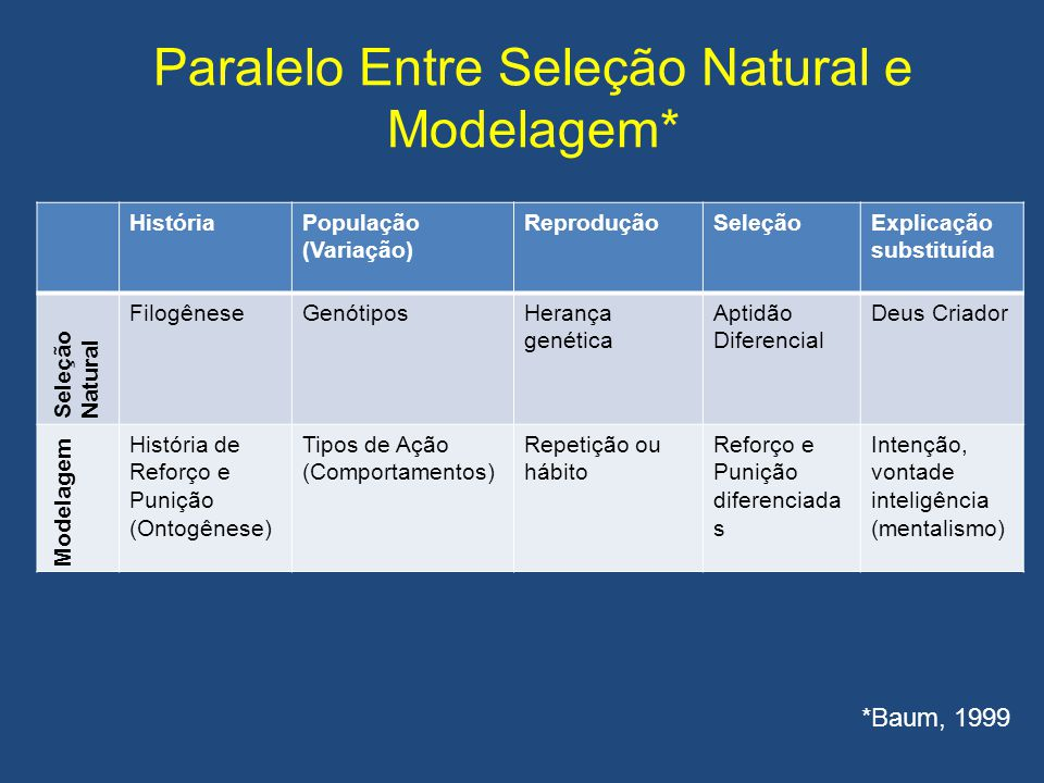 Paralelo Entre Seleção Natural e Modelagem*