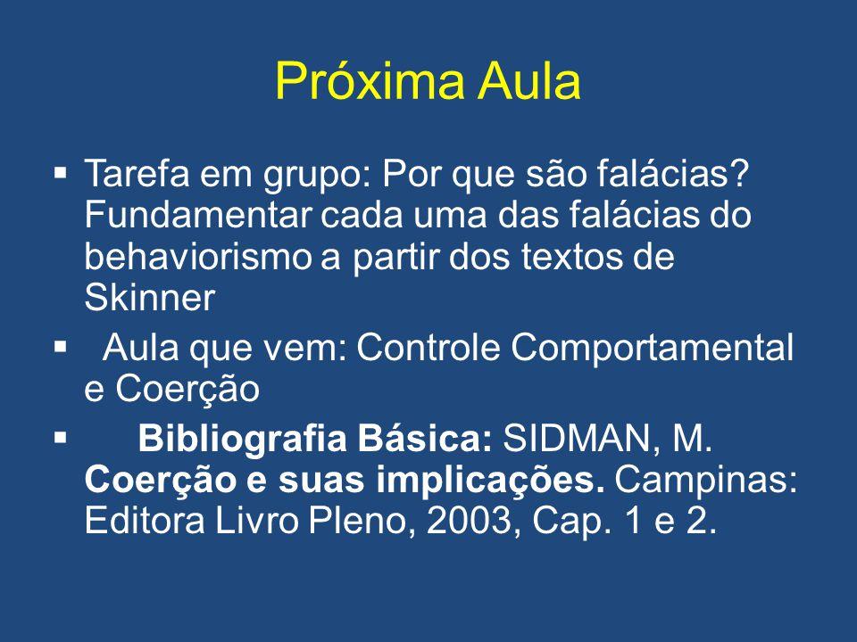 Próxima Aula Tarefa em grupo: Por que são falácias Fundamentar cada uma das falácias do behaviorismo a partir dos textos de Skinner.