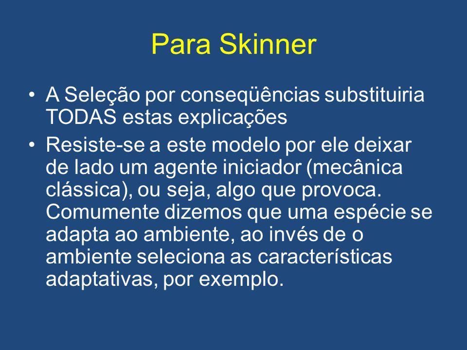 Para Skinner A Seleção por conseqüências substituiria TODAS estas explicações.