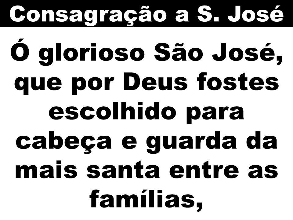 Consagração a S. José Ó glorioso São José, que por Deus fostes escolhido para cabeça e guarda da mais santa entre as famílias,