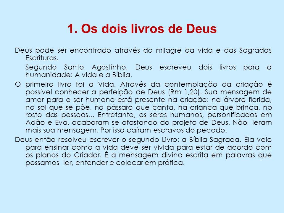 1. Os dois livros de Deus Deus pode ser encontrado através do milagre da vida e das Sagradas Escrituras.