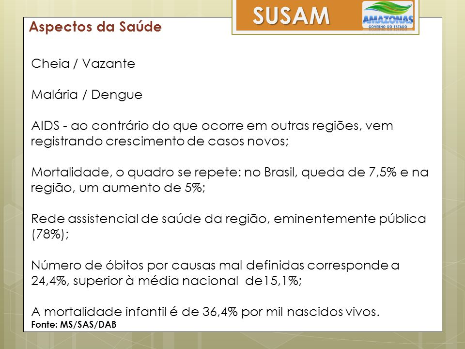 SUSAM Aspectos da Saúde Cheia / Vazante Malária / Dengue