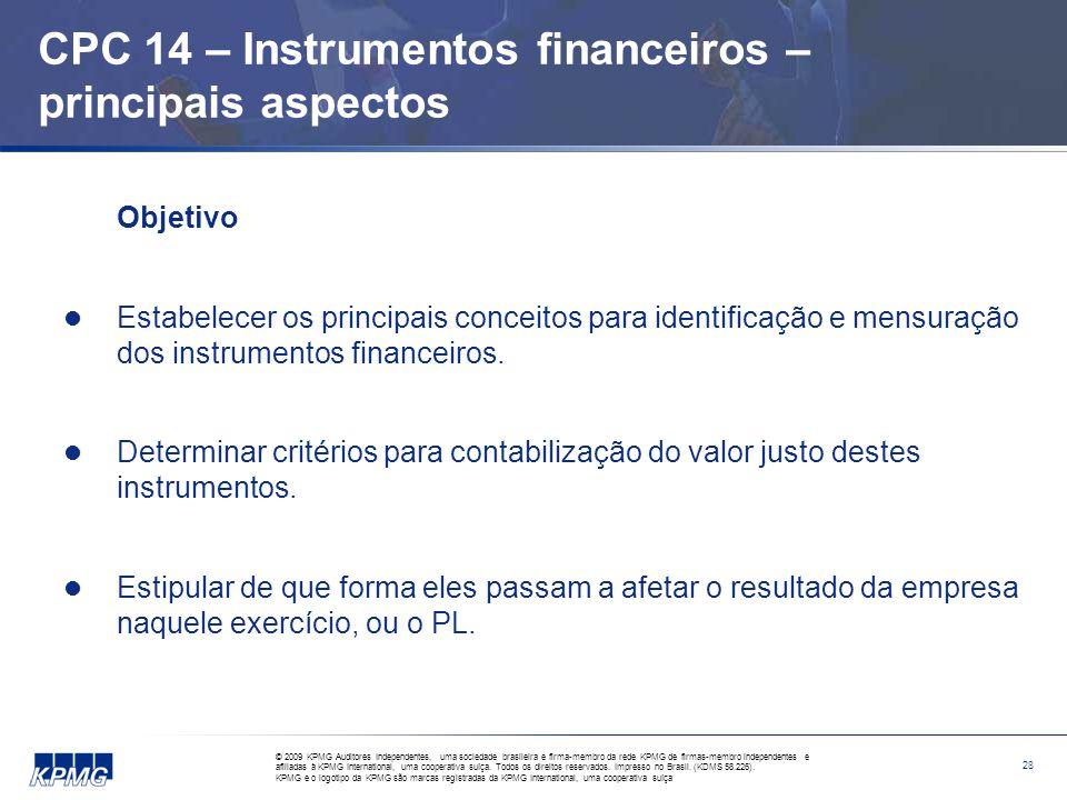 CPC 14 – Instrumentos financeiros – principais aspectos
