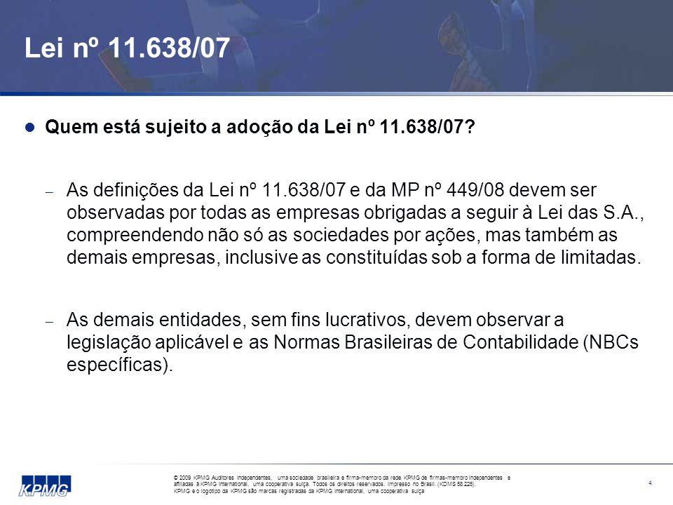 Alterações na Legislação Societária Demonstrações financeiras