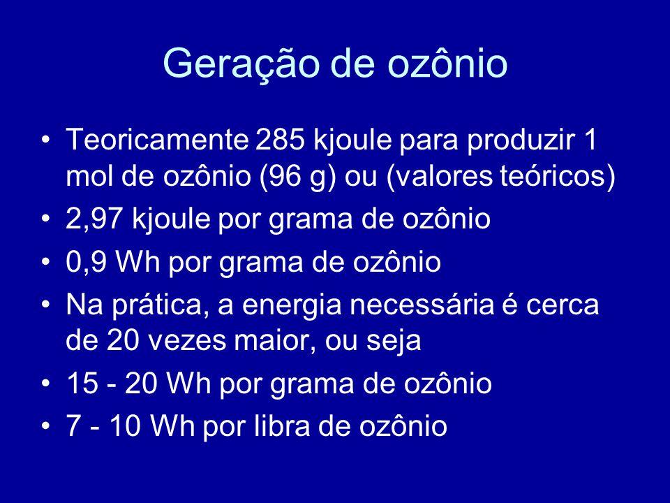 Geração de ozônio Teoricamente 285 kjoule para produzir 1 mol de ozônio (96 g) ou (valores teóricos)