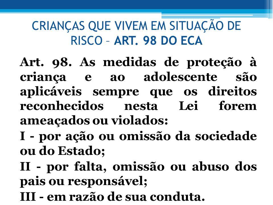 CRIANÇAS QUE VIVEM EM SITUAÇÃO DE RISCO – ART. 98 DO ECA